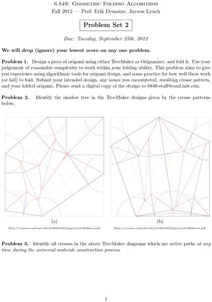 Problem Sets In 6 849 Geometric Folding Algorithms