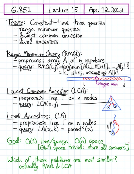 Lecture 15 in 6 851: Advanced Data Structures (Spring'12)