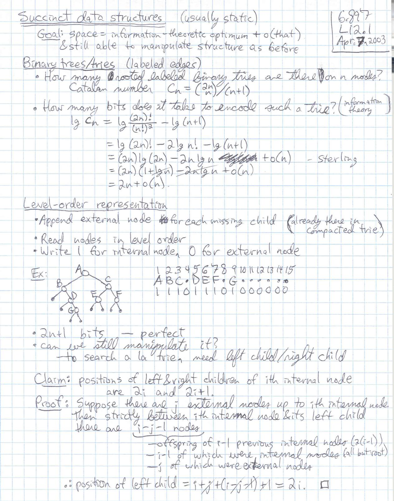 Lecture 12 page 1 at 150 DPI -- 6.897, Advanced Data Structures ...